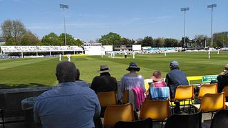 County Cricket Ground, Chelmsford - The River End of the ground, showing the main scoreboard