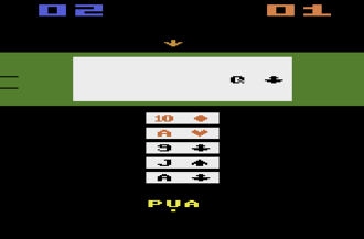 Atari 2600 homebrew - Screenshot of Euchre (aka Video Euchre) by Erik Eid, one of the Atari 2600 homebrews featured in the 2003 Activision Anthology