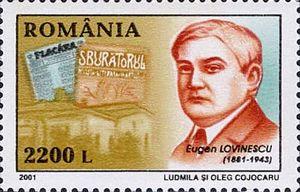 Eugen Lovinescu - Eugen Lovinescu on a 2001 Romanian stamp