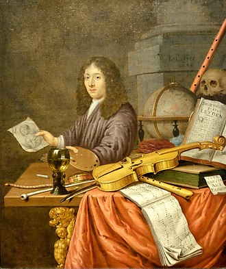 Evert Collier - Evert Collier's oil on canvas Self-Portrait with a Vanitas Still-life, 1684, Honolulu Museum of Art