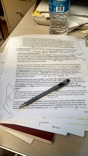 Copy editing - Example of non-professional copy editing in progress