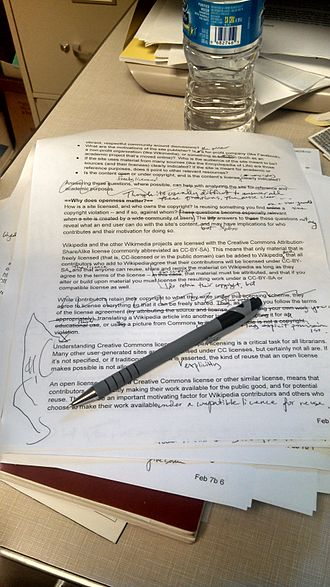 Copy editing - Example of non-professional copy editing in progress: the document finally published as