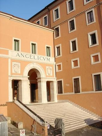 The Pontifical International Athenaeum Angelicum in Rome, Italy Facade of the main entrance of the Pontifical University of St. Thomas Aquinas (Angelicum) (19May07).jpg