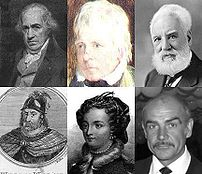 Collage of images representing the :en:Scottish people. Up (from left to right): :en:James Watt, :en:Walter Scott, :en:Alexander Graham Bell. Down: :en:William Wallace, :en:Mary I of Scotland, :en:Sean Connery.