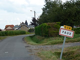 Faux (Ardennes) city limit sign.JPG