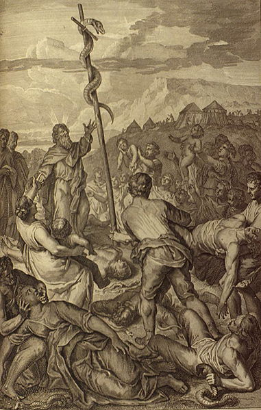 File:Figures Moses fixes the brazen Serpent on a pole.jpg