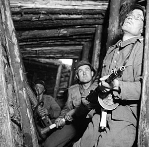 "Continuation War - Finnish soldiers, VT-line in 1944, Karelian offensive; ""Alarm in VT-line positions""."