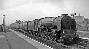 Finsbury Park station - Down ECML express passing in 1962