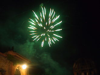 Green - Fireworks typically use barium salts to create green sparks