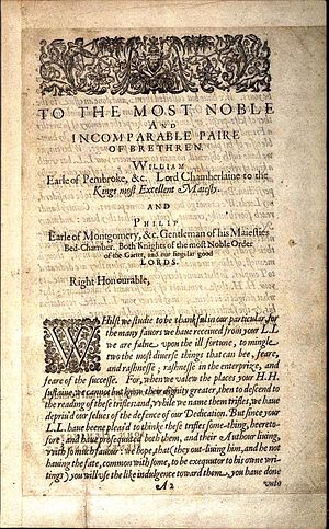 Oxfordian theory of Shakespeare authorship - Shakespeare's First Folio was dedicated to Philip Herbert, 4th Earl of Pembroke and his brother William Herbert. Philip Herbert was married to Oxford's daughter, Susan de Vere.
