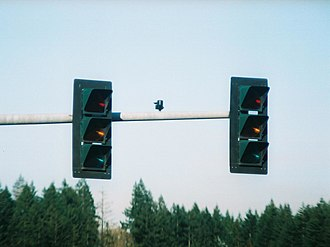 3M - 3M traffic signals installed in Shelton, Washington. Standing off-axis from the intended viewing area, these signals are invisible to adjacent lanes of traffic in daylight. (A faint glow is visible at night.)