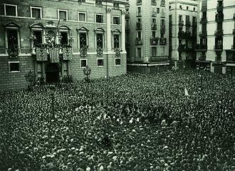 Catalan Republic (1931) - Proclamation of the Republic in Plaça de Sant Jaume, Barcelona, 14 April 1931