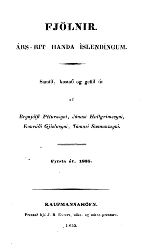 """Fjölnir (journal) - Front page of the first issue of Fjölnir, dated 1835. It bears the subtitle """"A Yearly Journal for Icelanders"""""""