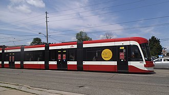 Toronto streetcar system rolling stock - Image: Flexity Outlook 4402 testing in July 2014