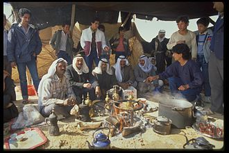 Negev Bedouin - Bedouin men at a hafla