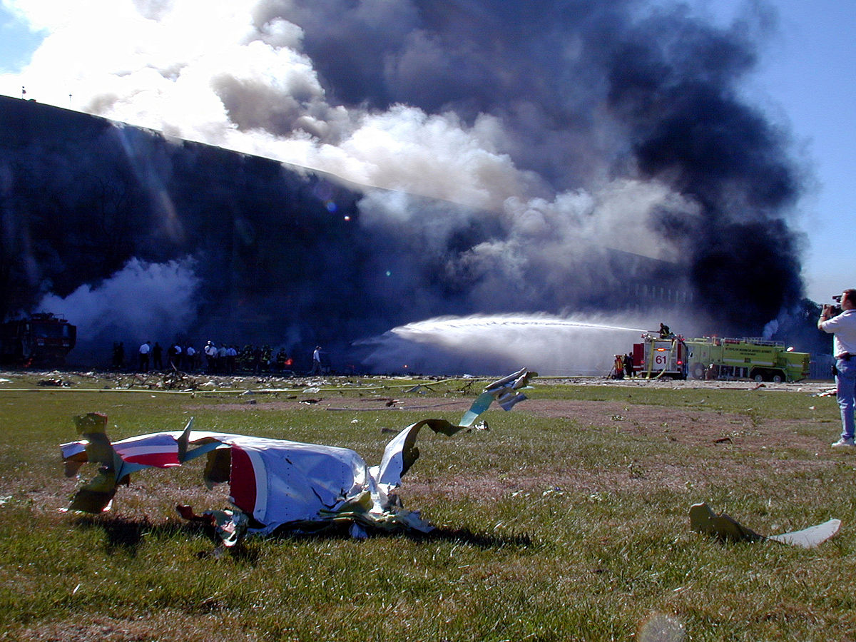 Flight 77 wreckage at Pentagon.jpg