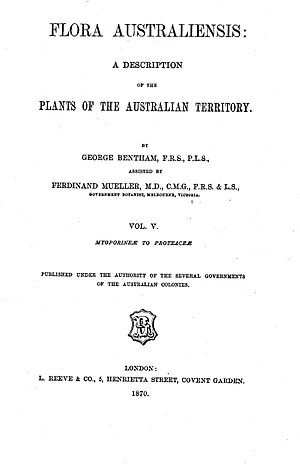 Flora of Western Australia - title page from volume five of Flora Australiensis