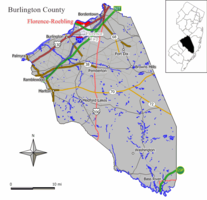 Map of the former Florence-Roebling CDP in Burlington County. Inset: Location of Burlington County in New Jersey.