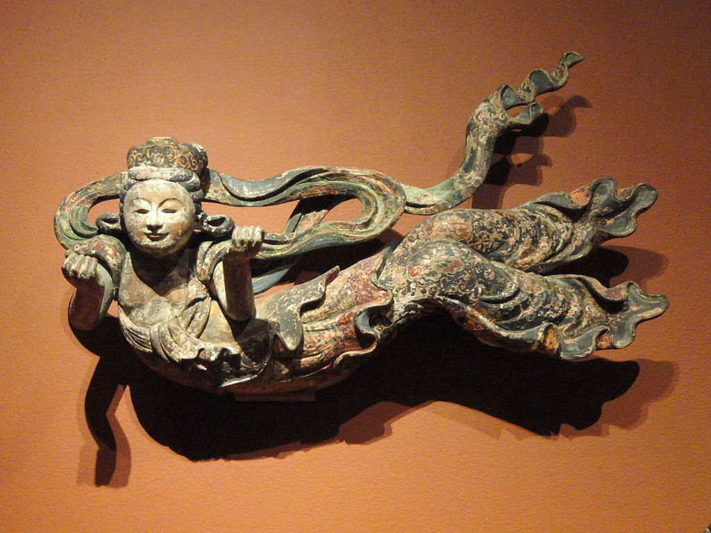 Flying Apsaras, Japan, c. early 18th century, wood with pigment - San Diego Museum of Art - DSC06511.JPG