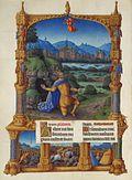 David armadura, de rodillas ante una cueva en un paisaje y exigente misericordia