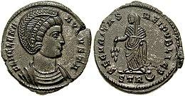Бронзани новац са ликом Хелене Августе искован после 324. године. Царица носи дијадему као симбол владарског достојанства. На реверсу је симболично приказана Сигурност државе.