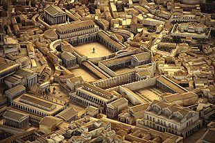 Ricostruzione del Foro di Traiano nel plastico di Roma antica di Italo Gismondi, Museo della Civiltà Romana.