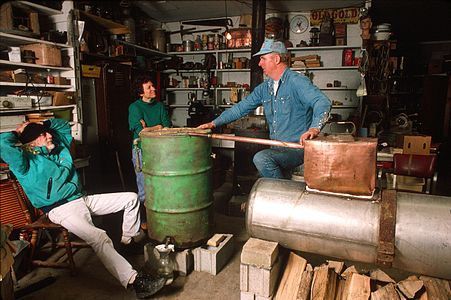 Former moonshiner John Bowman explaining the workings of a moonshine still American Folklife Center.jpg