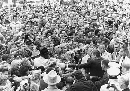 President Kennedy in Fort Worth, Texas, on Friday morning, November 22, 1963 Fort Worth rally, 22 November 1963.jpg