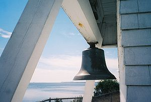 Foghorn - An early form of fog signal. The fog bell at Fort Point Light Station, Maine.