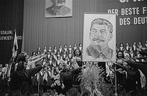 Number of deaths in the Soviet Union under Joseph Stalin - Poster of Stalin displayed at a public event in Leipzig, East Germany in 1950