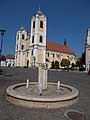 Fountain with Star and Saint Bartholomew church. Listed ID 5672. - Gyöngyös, Hungary.JPG