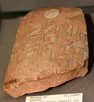 Tiaa (princess) - Fragment of a canopic jar of Tiaa, the King's daughter. 18th Dynasty. Pink limestone. From the Valley of the Queens at Thebes, Egypt. The Petrie Museum of Egyptian Archaeology, London