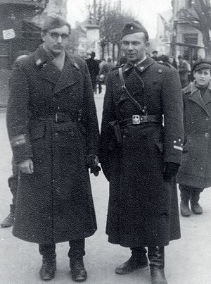 Franjo Tuđman - Franjo Tuđman (left), with Joža Horvat (right), in Partisan uniform, February 1945
