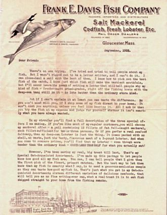 Advertising mail - 1928 direct mail advertising letter offering mail delivery of fish and seafood