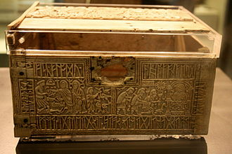 Franks Casket - The Franks Casket, as displayed in the British Museum;  the front and lid