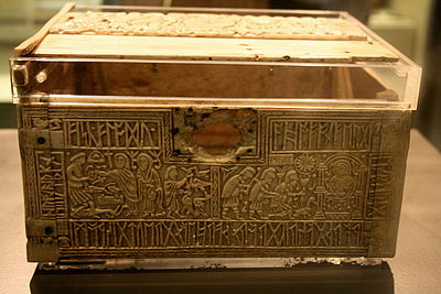 The Franks Casket, as displayed in the British Museum; the front and lid Franks casket 03.jpg