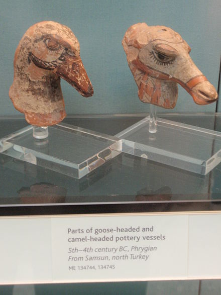 Parts of goose-headed and camel-headed Phrygian pottery vessels Frig-samsun.JPG