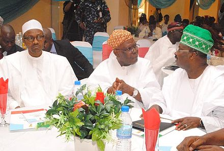 Buhari (left) with Governor Abiola Ajimobi (right) GMB, Akande, Ajimobi at PGLS1.jpg