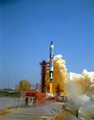Gemini 4 - A Titan II launch vehicle lifts Gemini 4 into orbit, June 3, 1965.