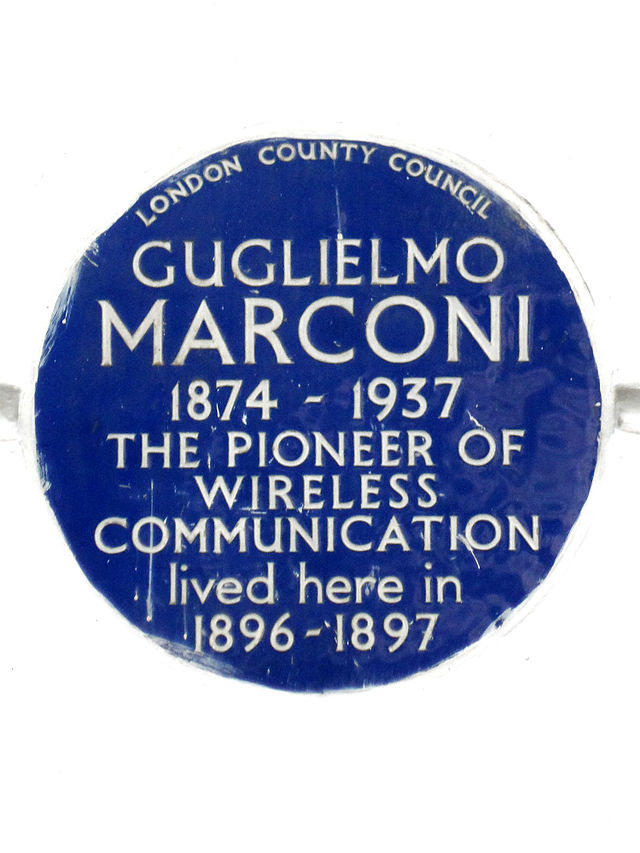 Photo of Guglielmo Marconi blue plaque