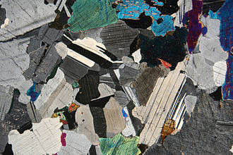 Gabbro - Photomicrograph of a thin section of gabbro