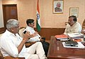 Gajendra Singh Shekhawat meeting the Minister of State for Culture (Independent Charge), Tourism (Independent Charge) and Civil Aviation, Dr. Mahesh Sharma, in New Delhi on July 24, 2015.jpg