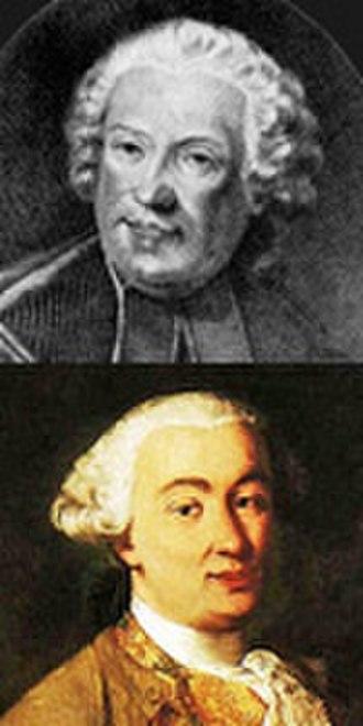Baldassare Galuppi - Galuppi's best-known librettists, Metastasio, top, and Carlo Goldoni