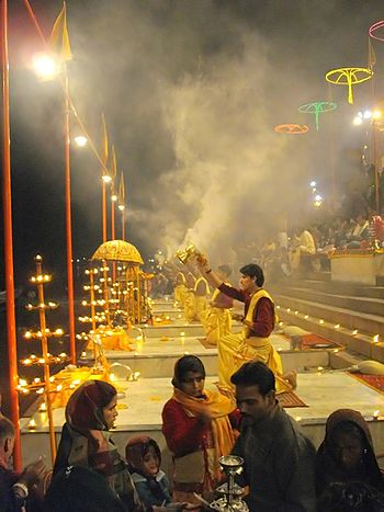 English: Ganga Aarti at Varanasi ghats,