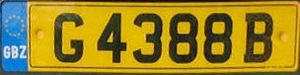 Vehicle registration plates of British overseas territories - A Gibraltar number plate, featuring the GBZ country identifier