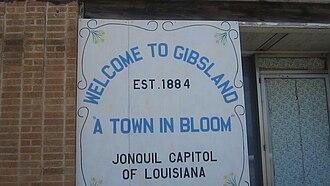 Gibsland, Louisiana - Image: Gibsland, LA, welcoming sign MVI 2653