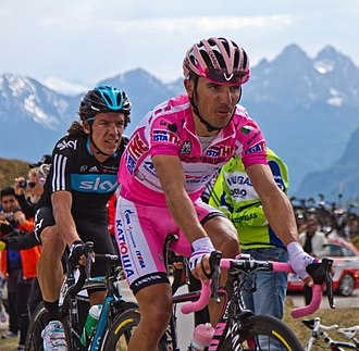 Joaquim Rodríguez - Rodríguez, wearing the maglia rosa of the general classification leader, at the 2012 Giro d'Italia