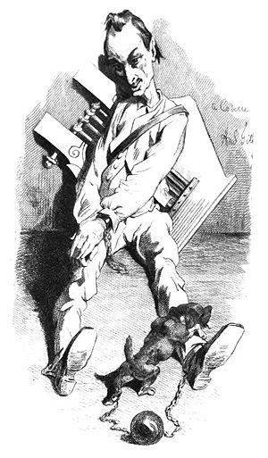 Joseph Albert Alexandre Glatigny - A caricature by André Gill illustrating Glatigny's imprisonment in Corsica, 1869