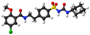 Glibenclamide ball-and-stick model.png