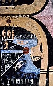 Fresco van een vrouw met sterren op haar lichaam en een rode zon bij haar mond